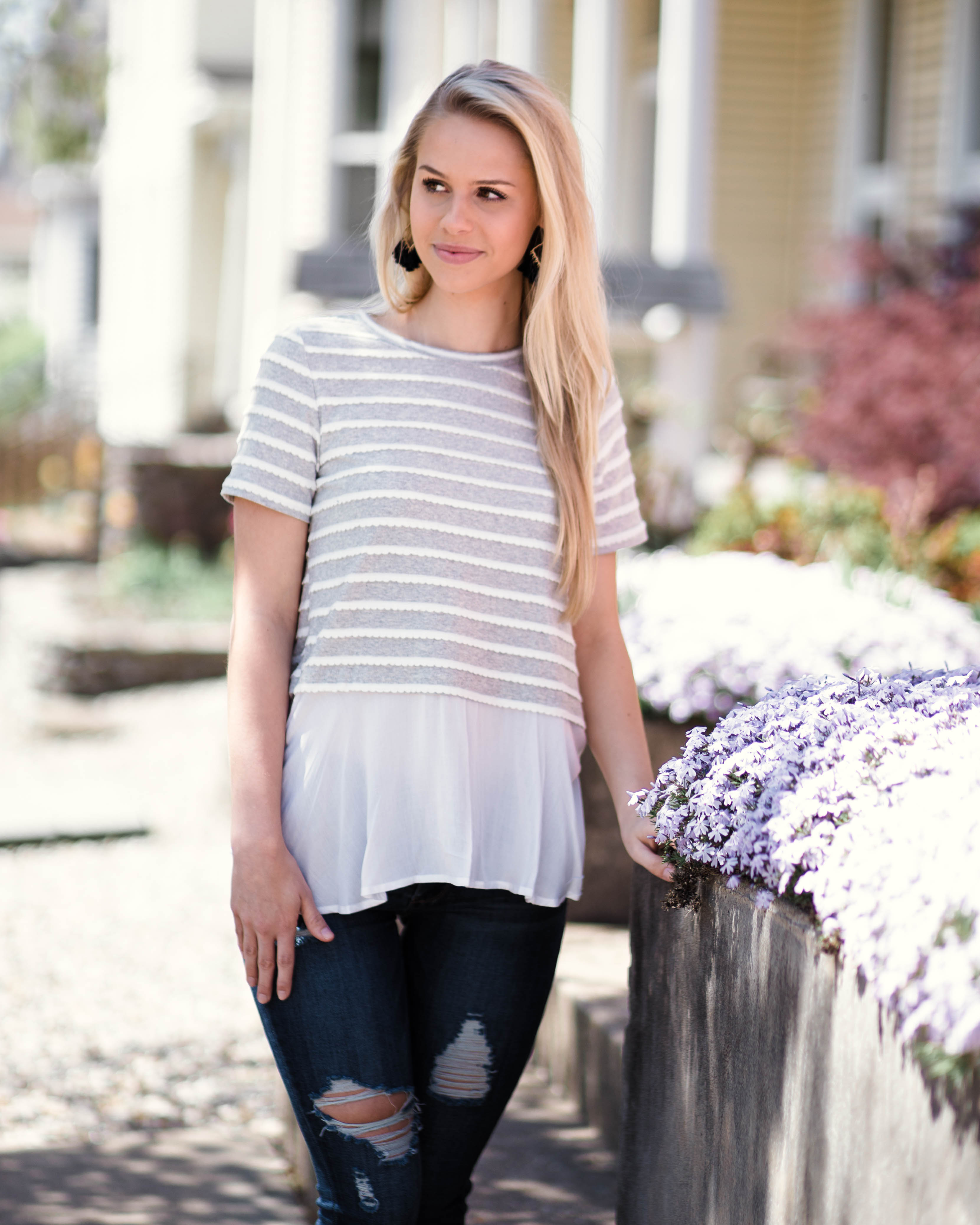 Hailey Striped Contrast Top | Rose & Remington