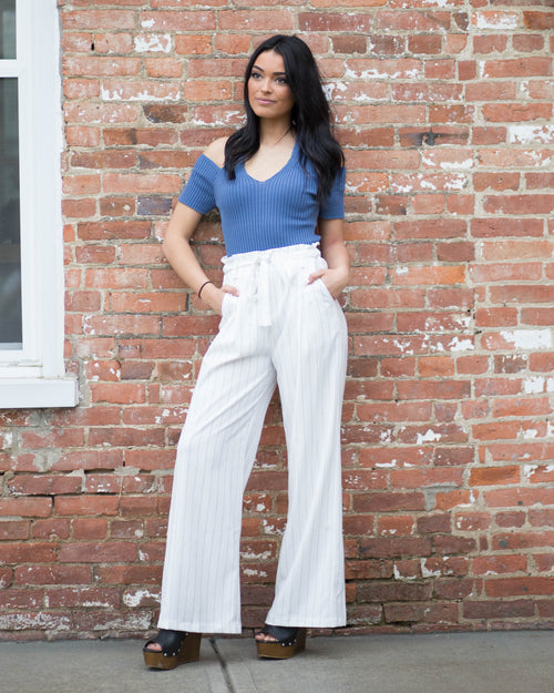 High Waisted Pinstripe Pants