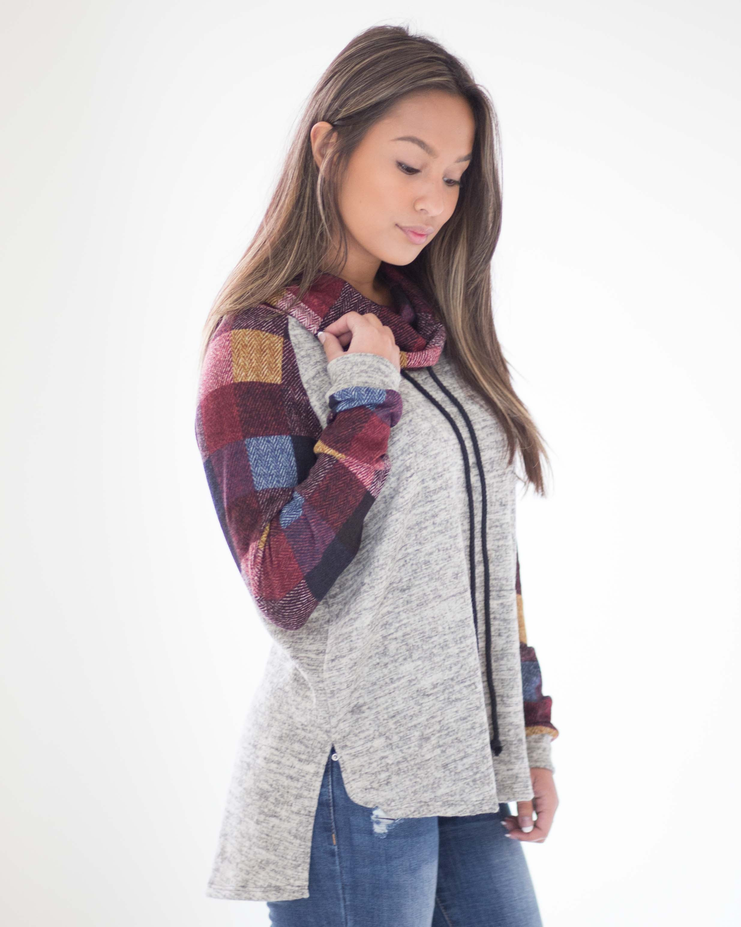 Piper Plaid Cowl Neck Pullover