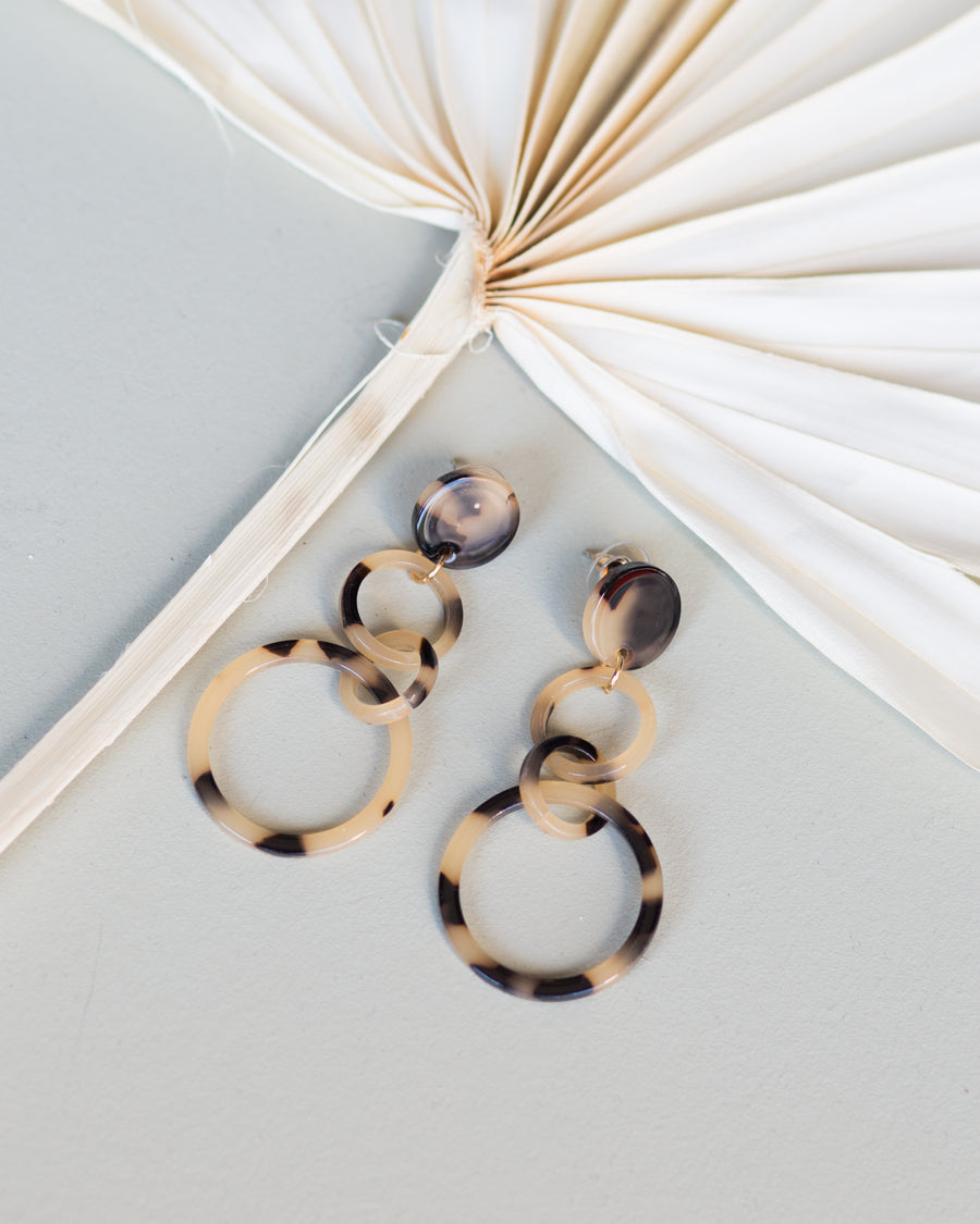 Third Time's a Charm Earrings- Light Brown