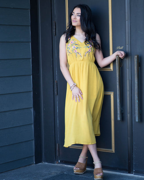 Marigold Embroidered Dress