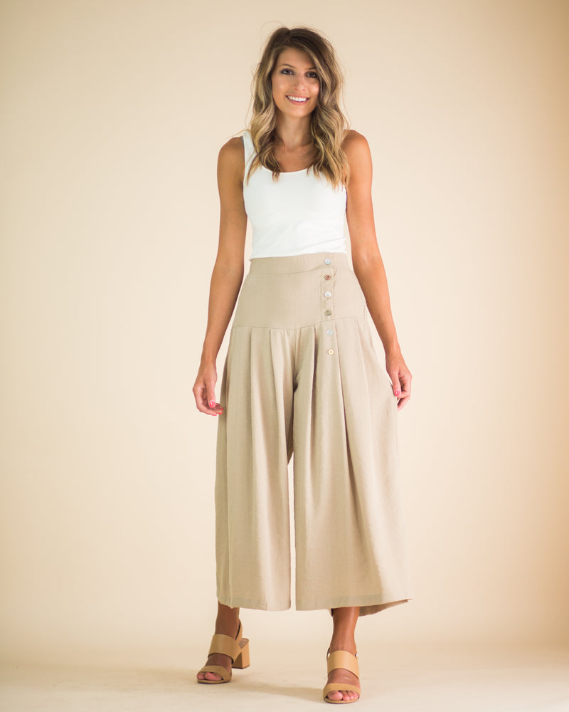 Avery Beige Buttoned Pants