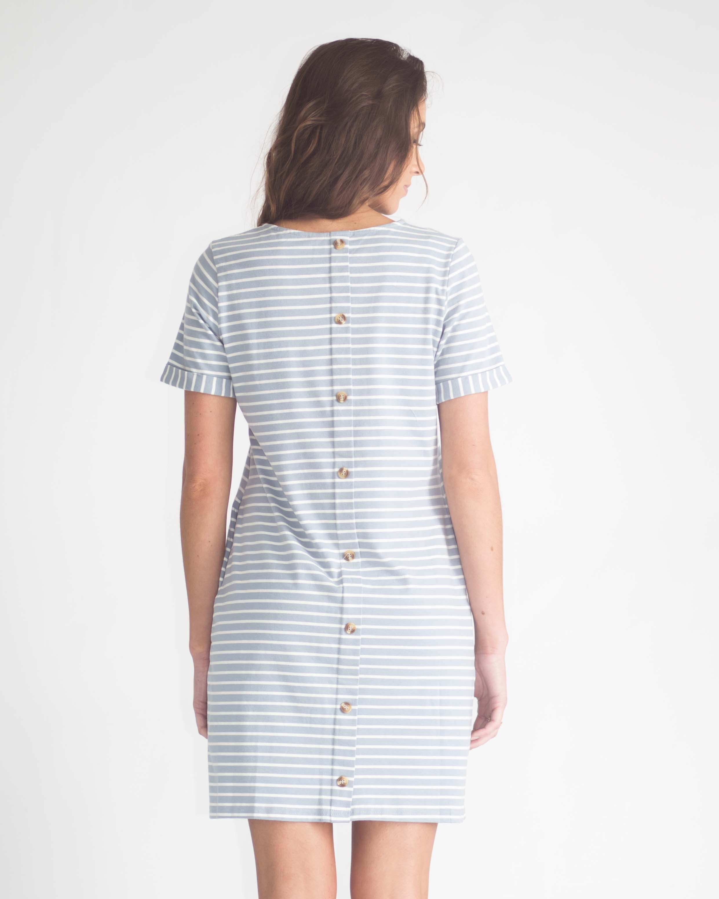 Mia Cuffed Sleeve Button Back Dress