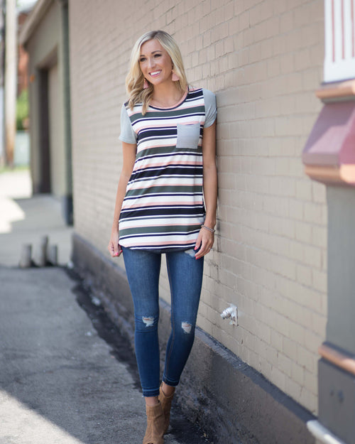 Olivia Striped Pocket Tee | Rose & Remington