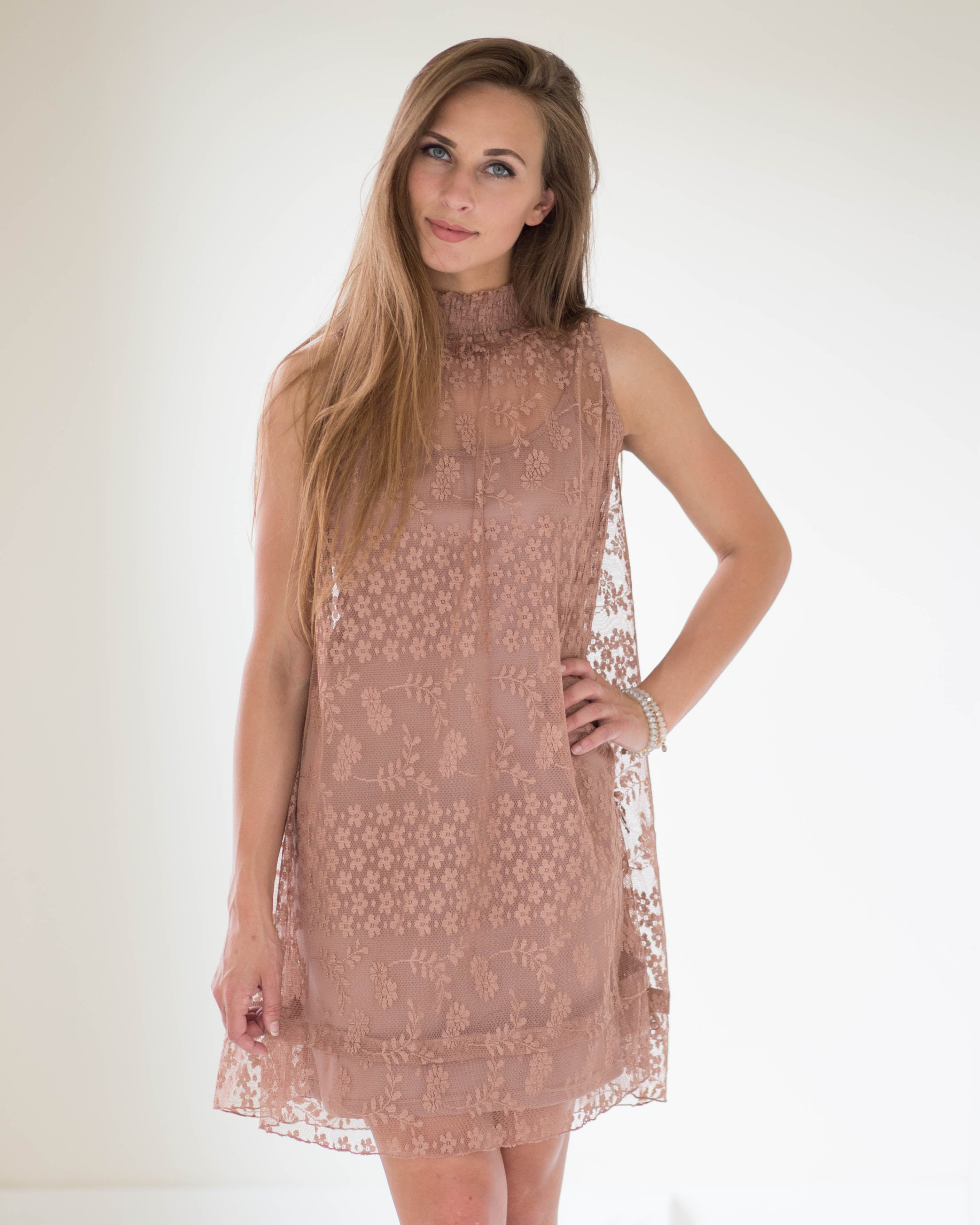 Lace Mock Neck Dress | Rose & Remington