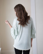 Mint Ruffle Sleeve Top | Rose & Remington
