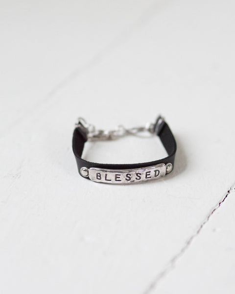 """Blessed"" Leather Band Bracelet"