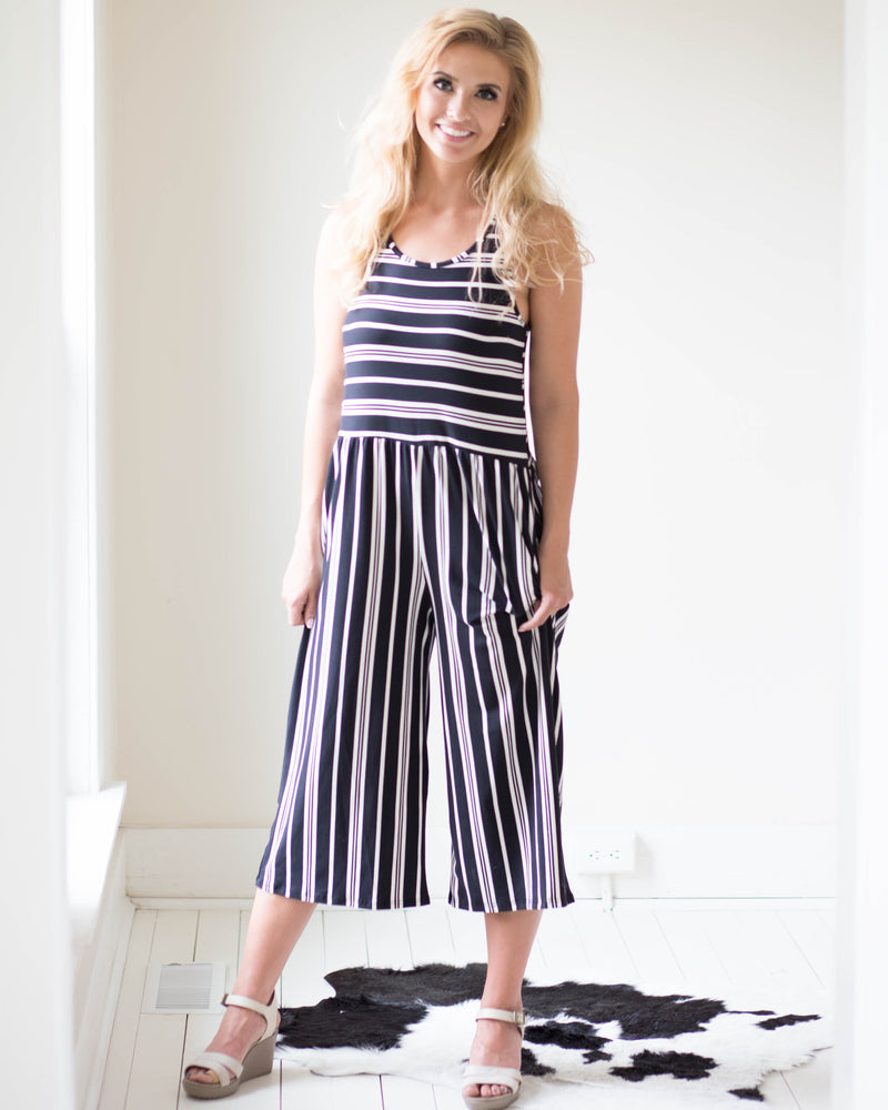 Naomi Striped Capri Jumpsuit | Rose & Remington