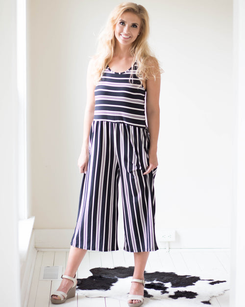 3e5da3eb71e7 Naomi Striped Capri Jumpsuit