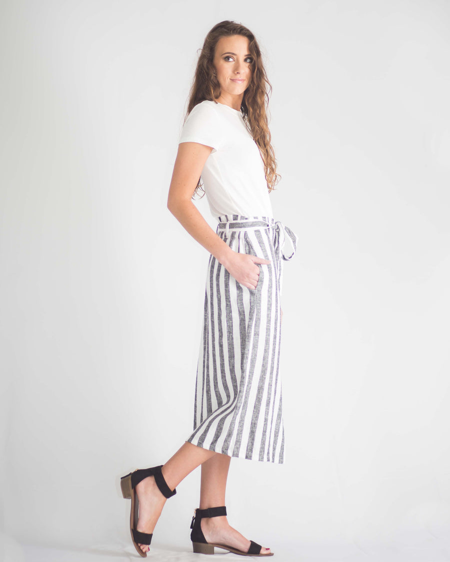 Striped Button Front Midi Skirt