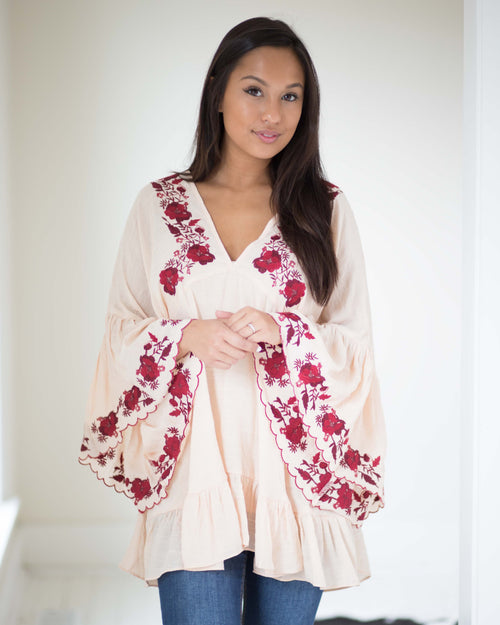Ruby Embroidered Bell Sleeve Tunic | Rose & Remington