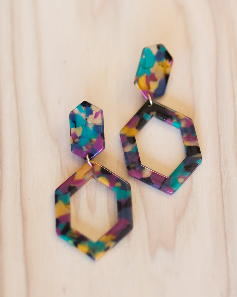 Geo Tortoise Earrings- Multi