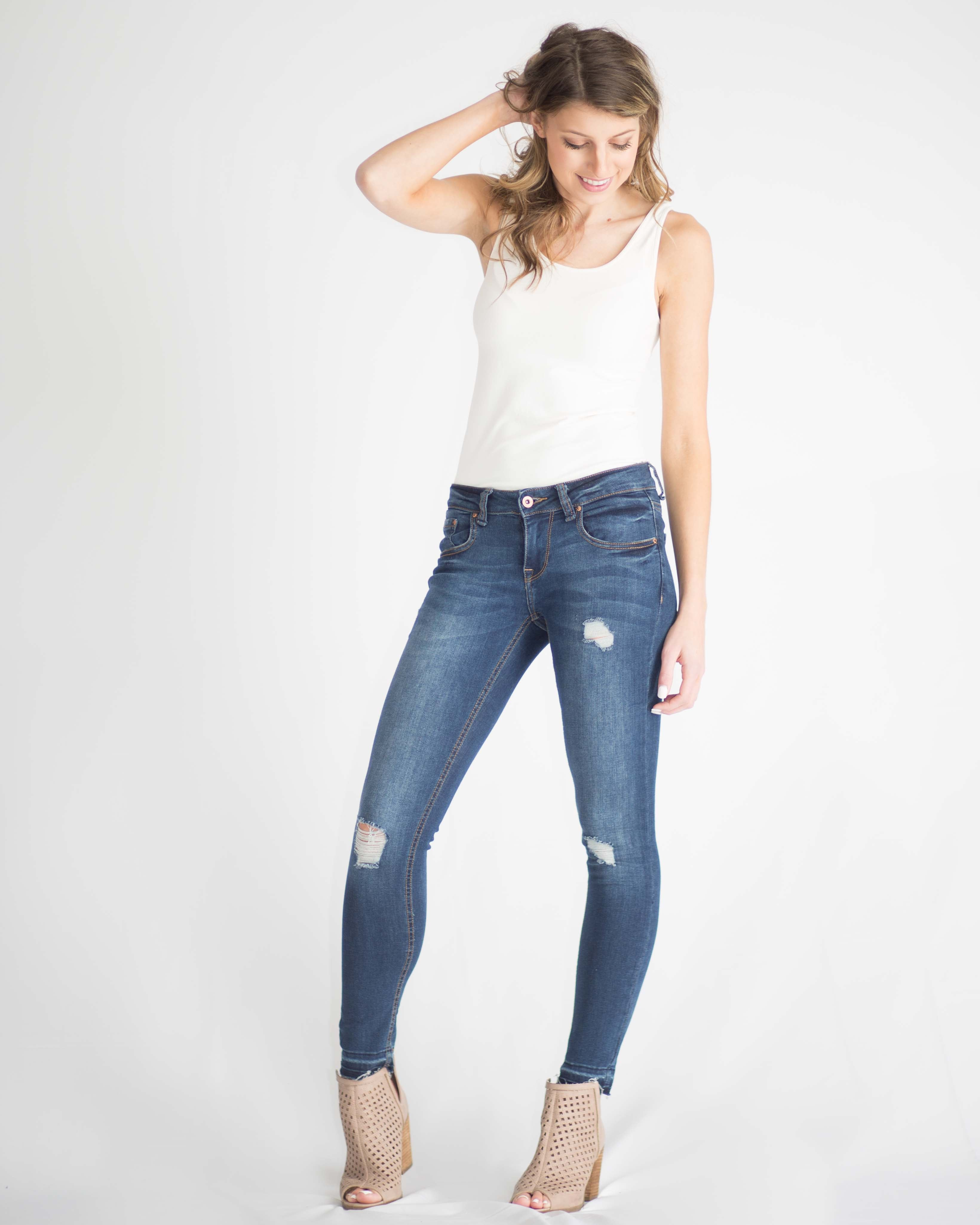 Mid Rise Skinny Ankle Jean