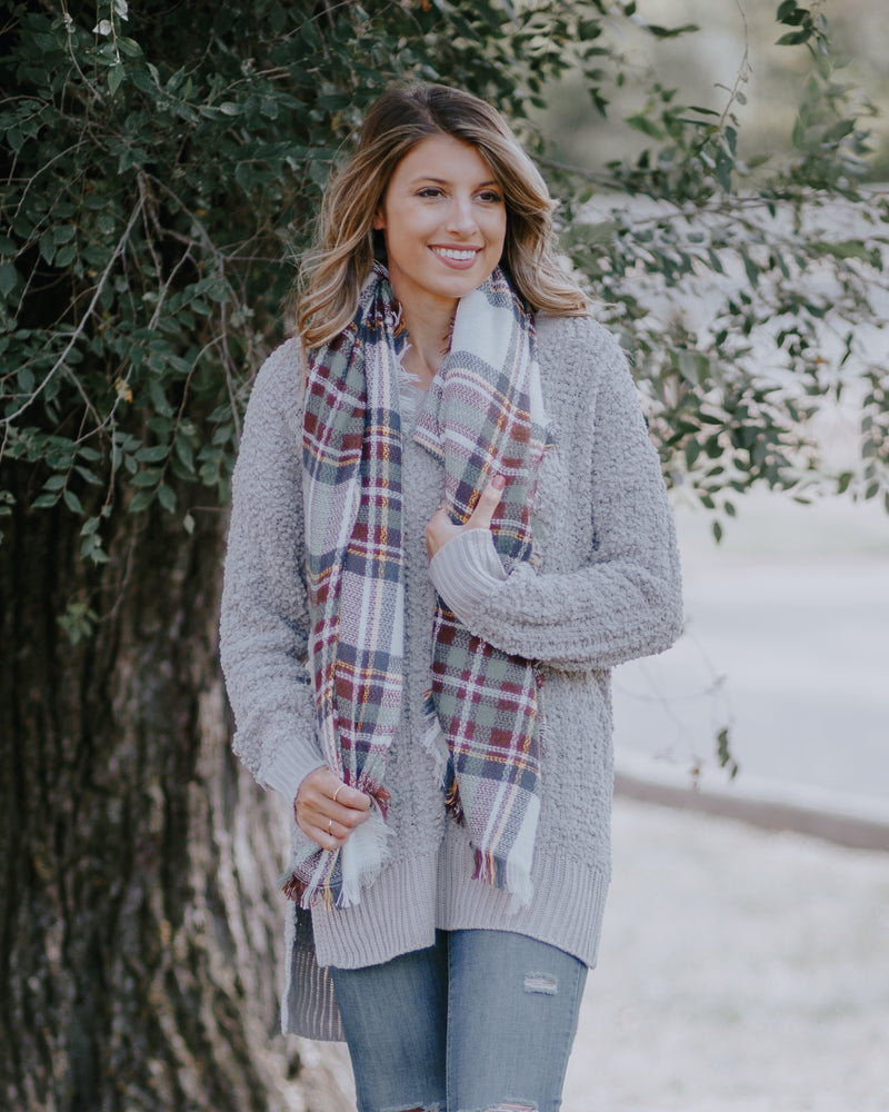 Cuddle Up Blanket Scarf-White/Brown/Mint