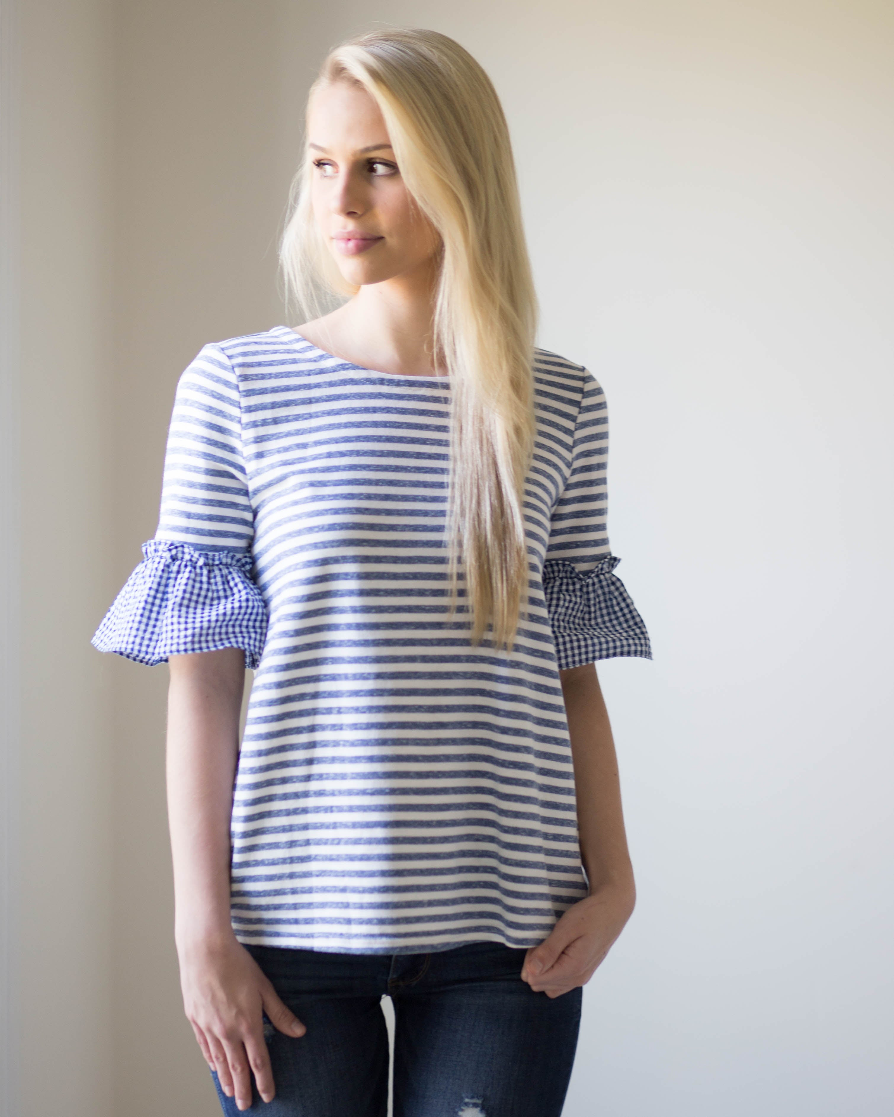 Lena Gingham Sleeve Top