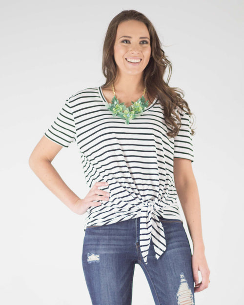 Aubrey Knot Front Striped Tee
