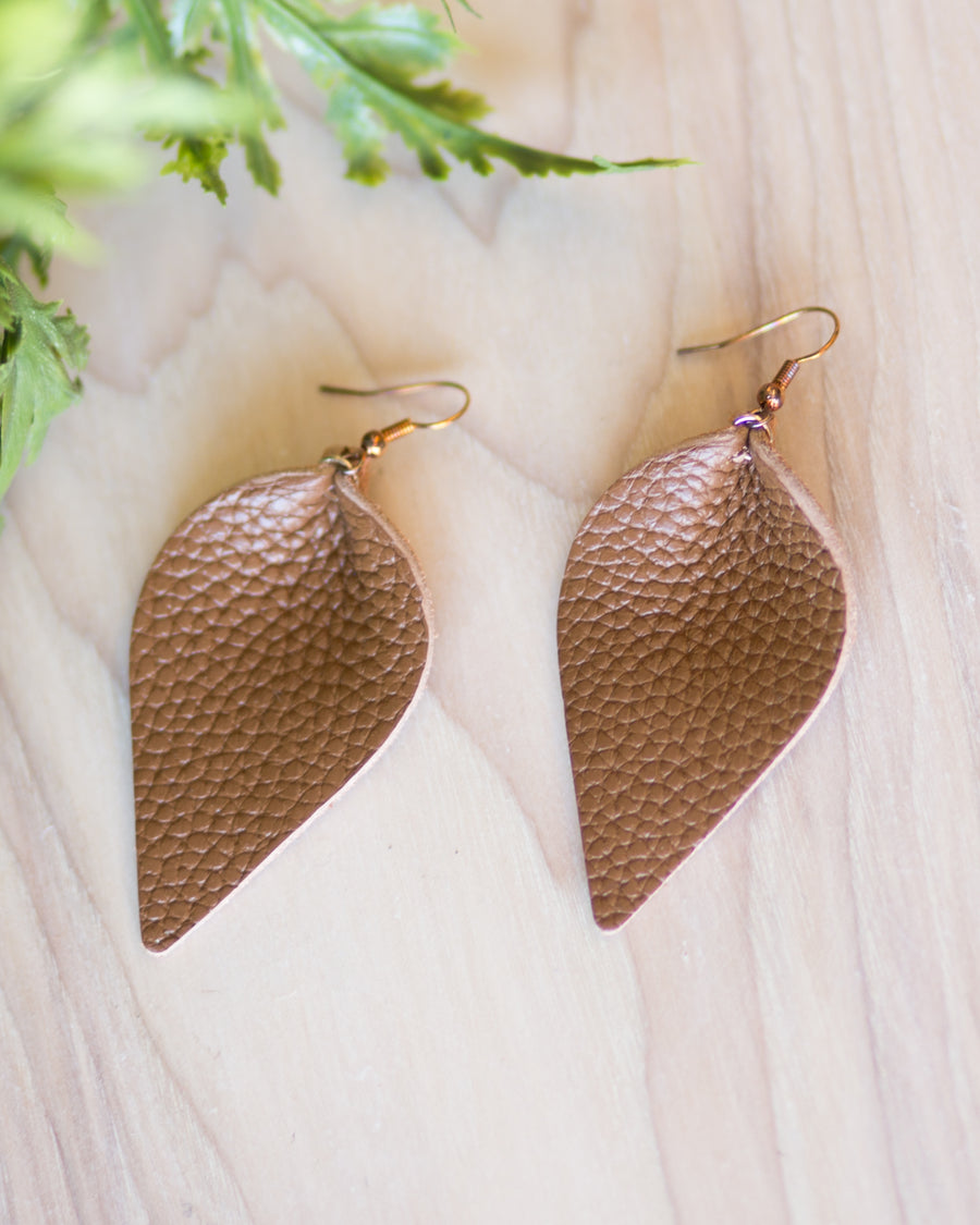 Leather Leaf Earrings- Brown