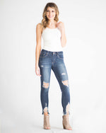 Skinny Distressed Hem Crop Jean