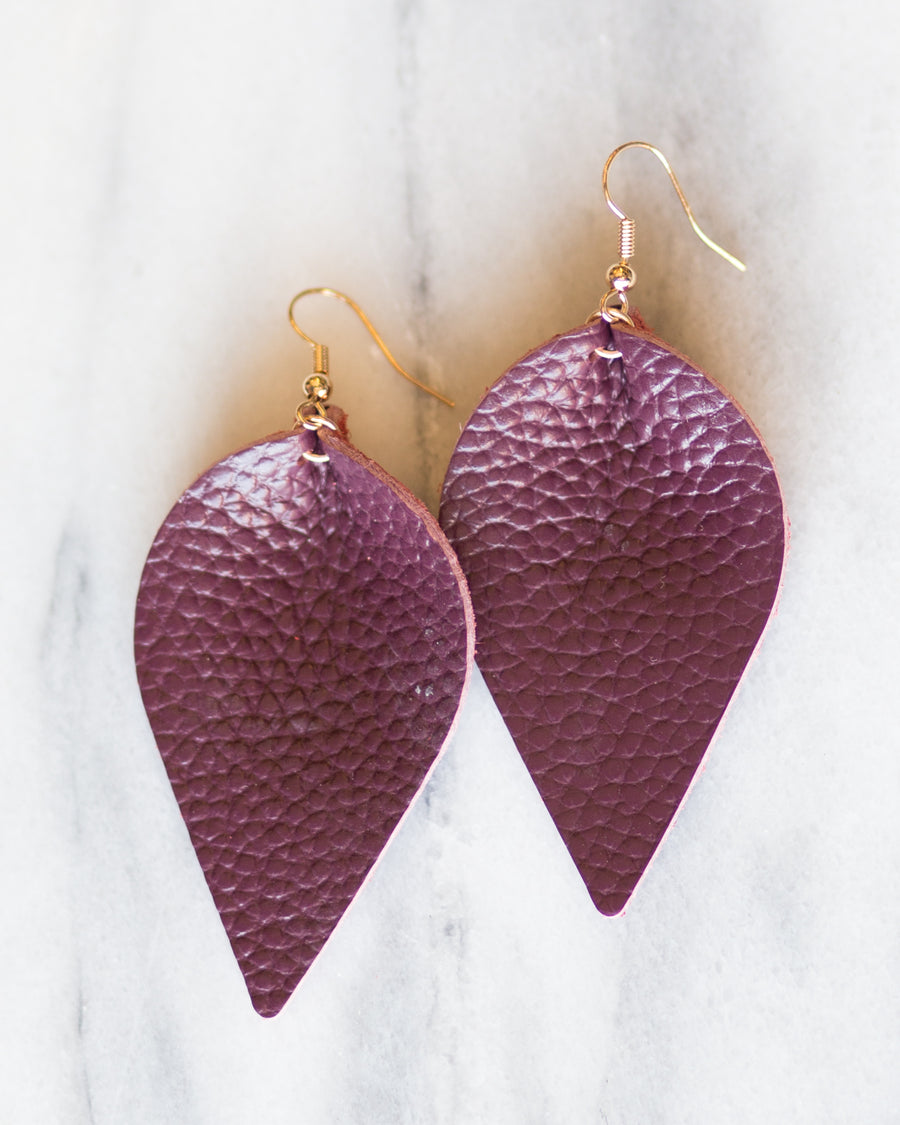 Leather Leaf Earrings-Burgundy