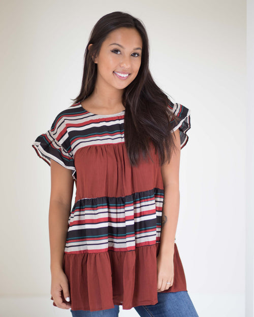 Amber Striped Ruffle Tunic | Rose & Remington