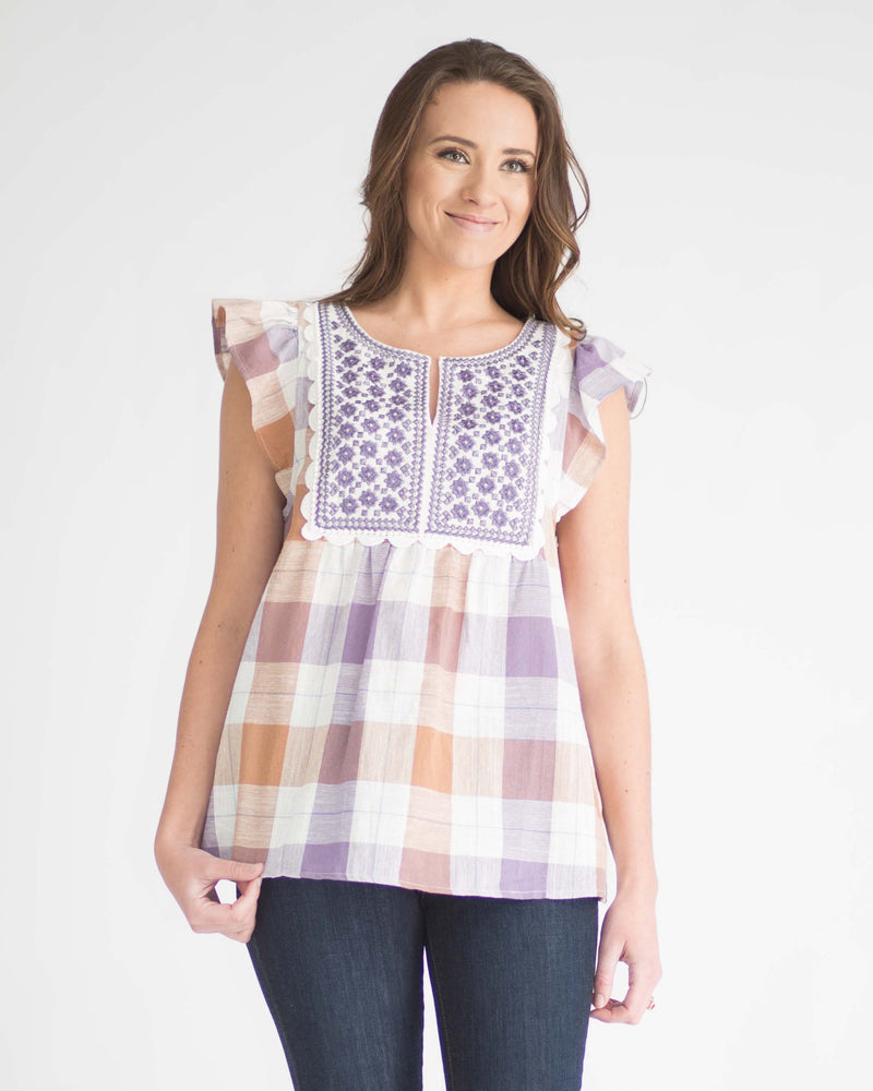 Emma Embroidered Plaid Top