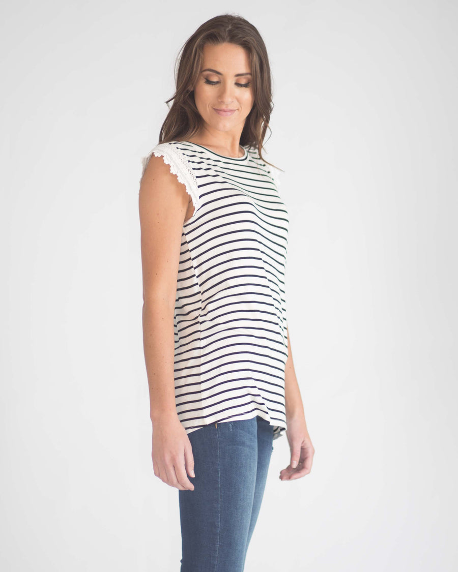 Holland Lacy Cap Sleeve Top