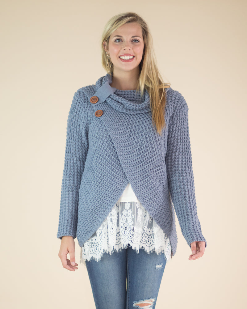 Two Button Waffle Knit Sweater