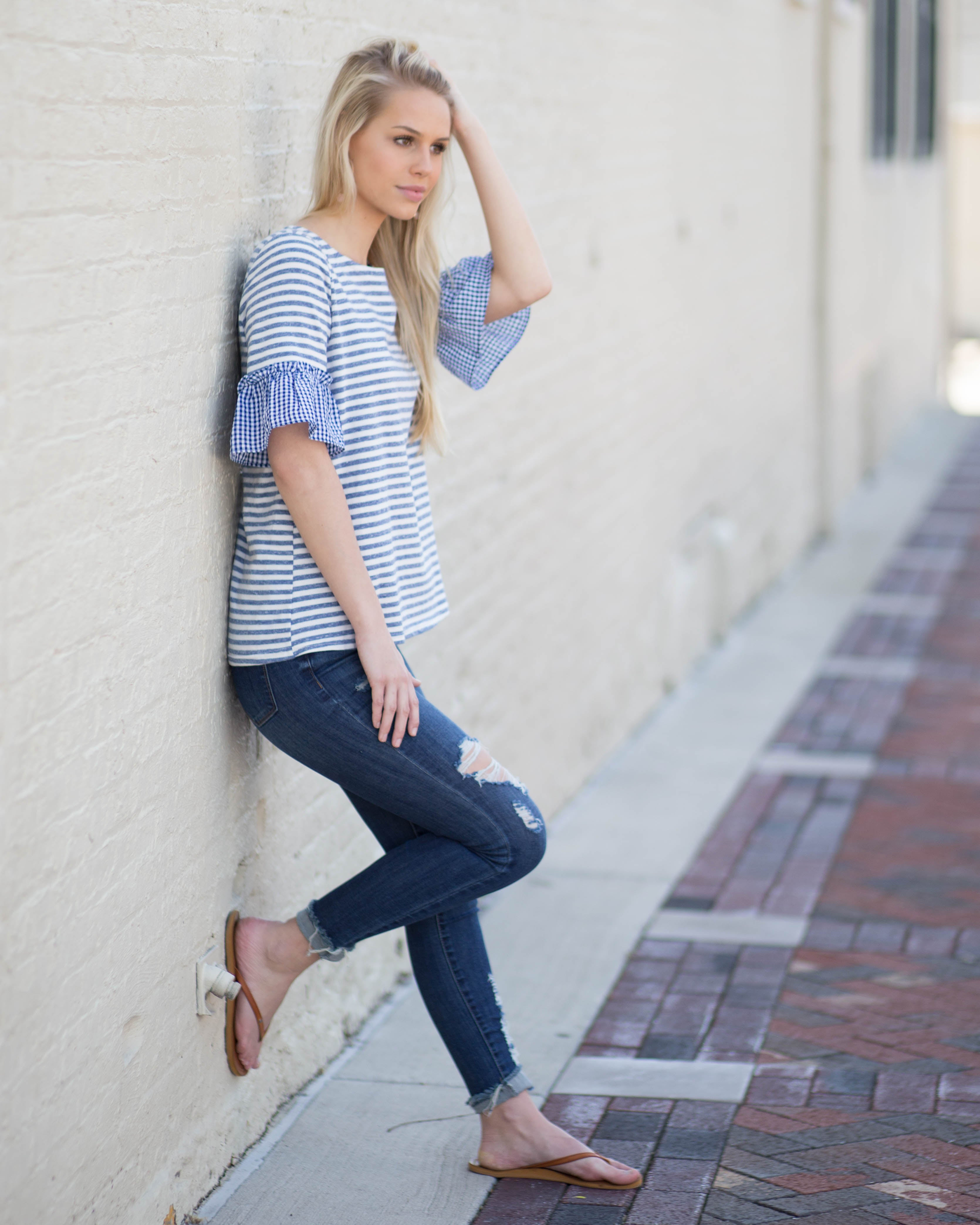 Lena Gingham Sleeve Top | Rose & Remington