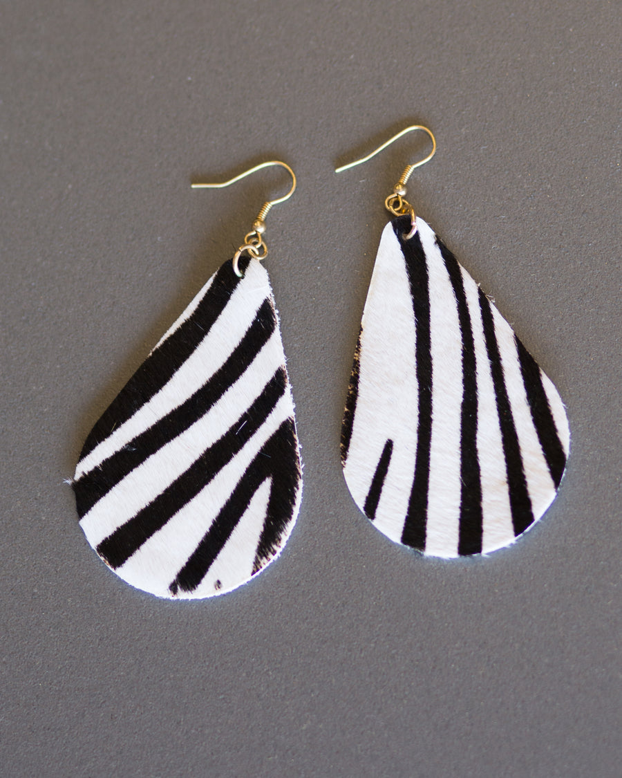 Teardrop Zebra Striped Earrings