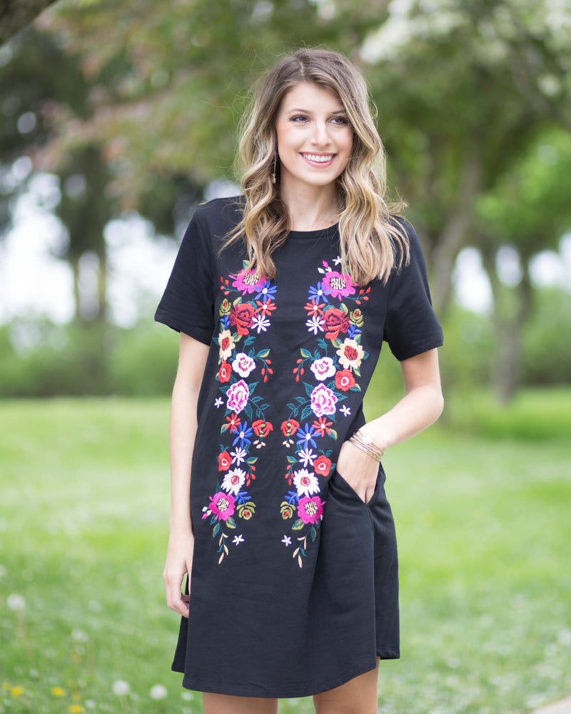 Floral Embroidered Pocket Tee Dress