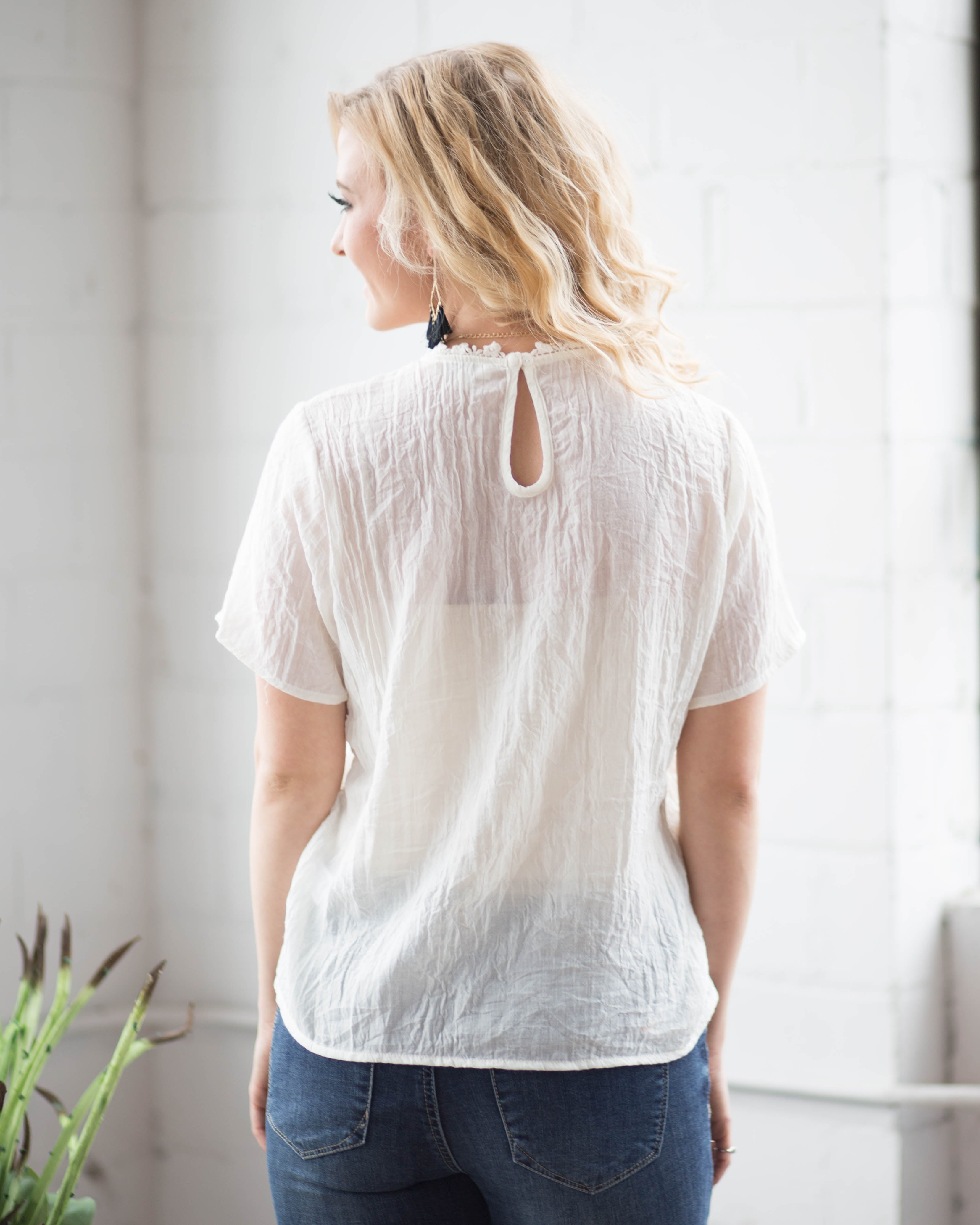 Camellia Embroidered Top