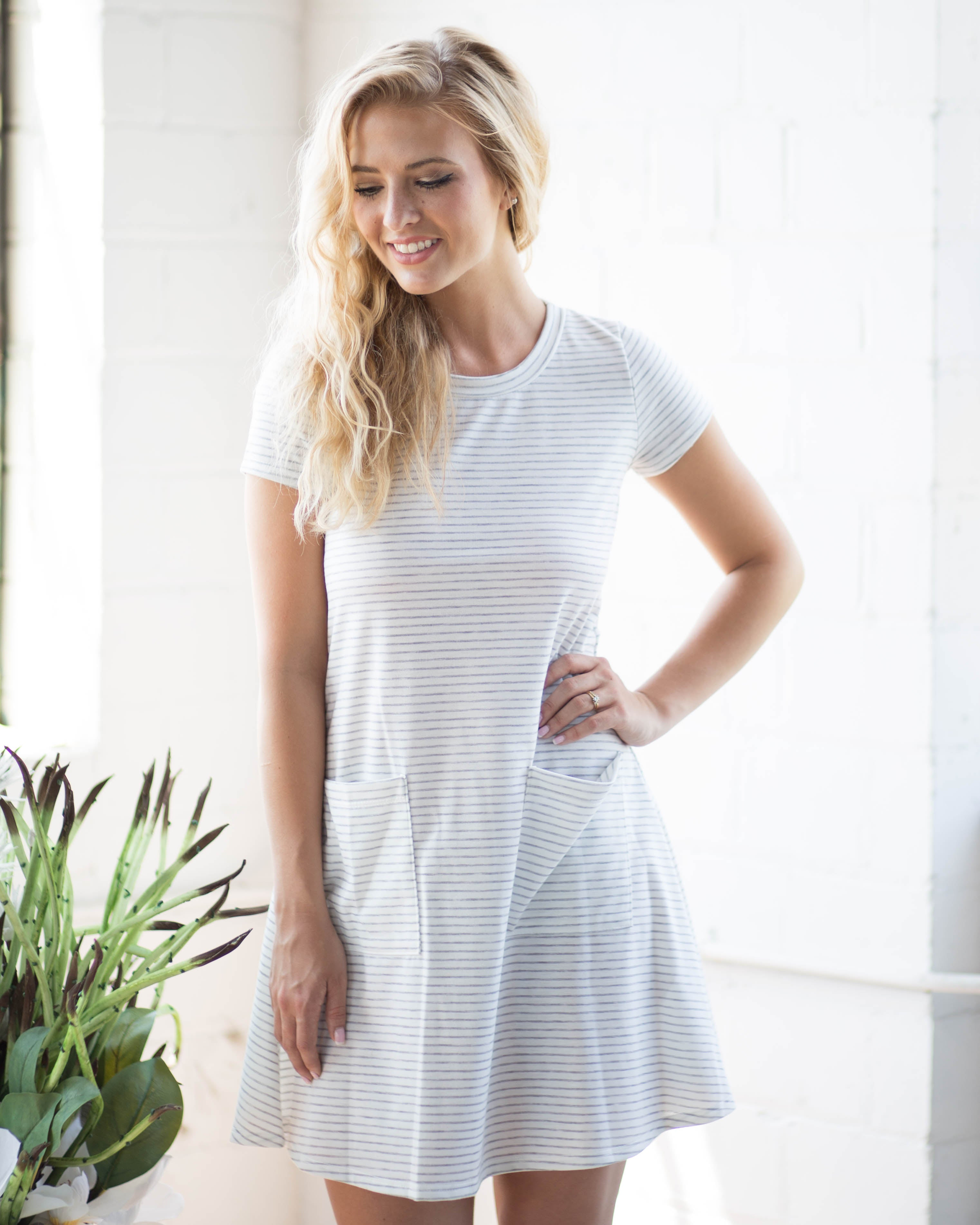 Mona Striped Tee Dress | Rose & Remington
