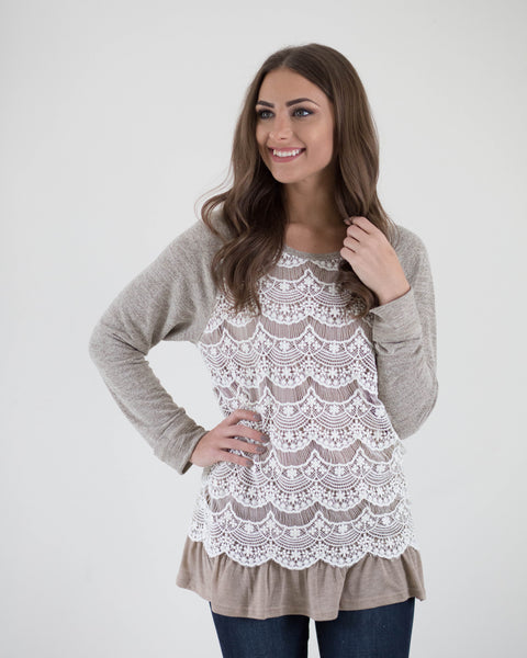 Lace Front Ruffle Top