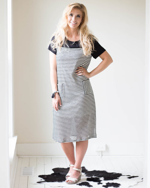 Uella Striped Midi Dress | Rose & Remington