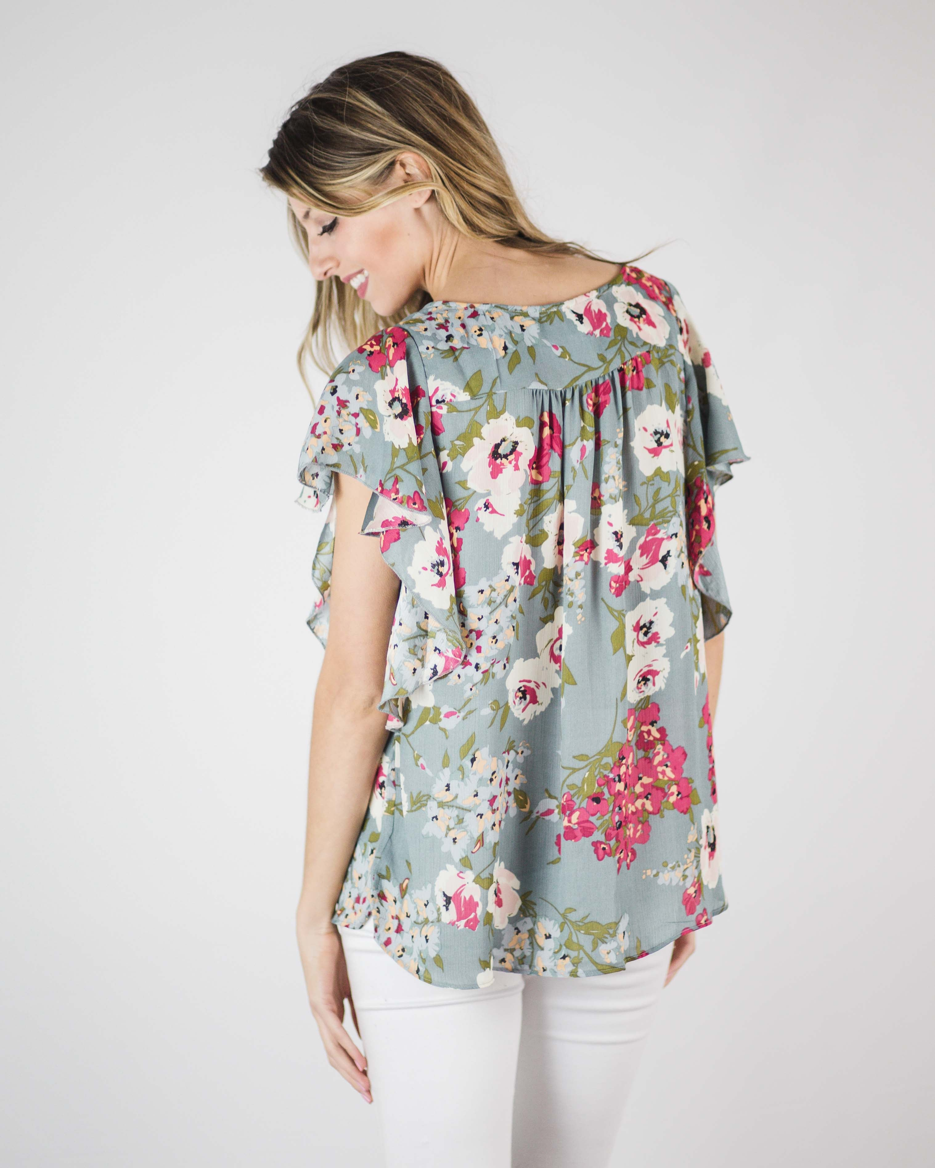 Trina Butterfly Sleeve Floral Top