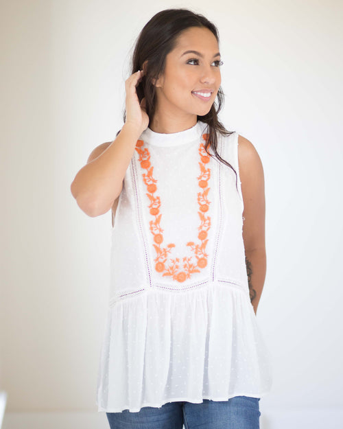 Ella Embroidered Sleeveless Top | Rose & Remington