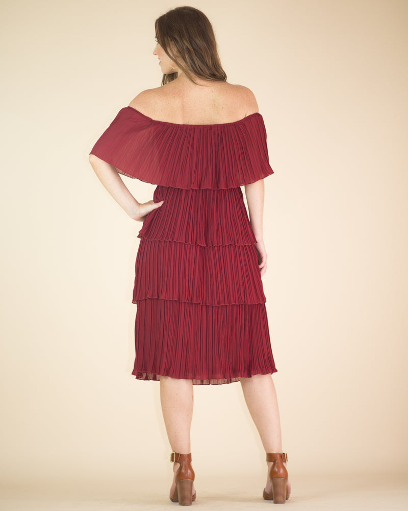 Maggie Pleated Off The Shoulder Dress
