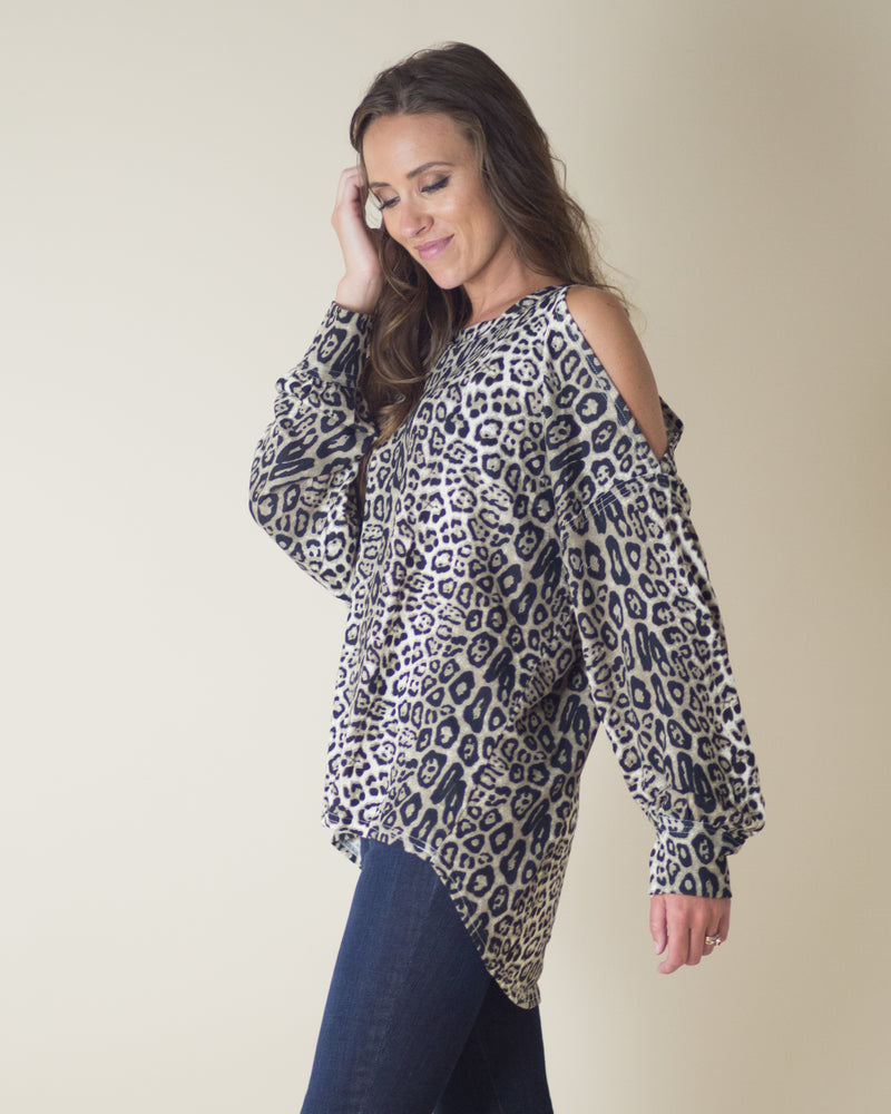Aurora Cold Shoulder Leopard Top