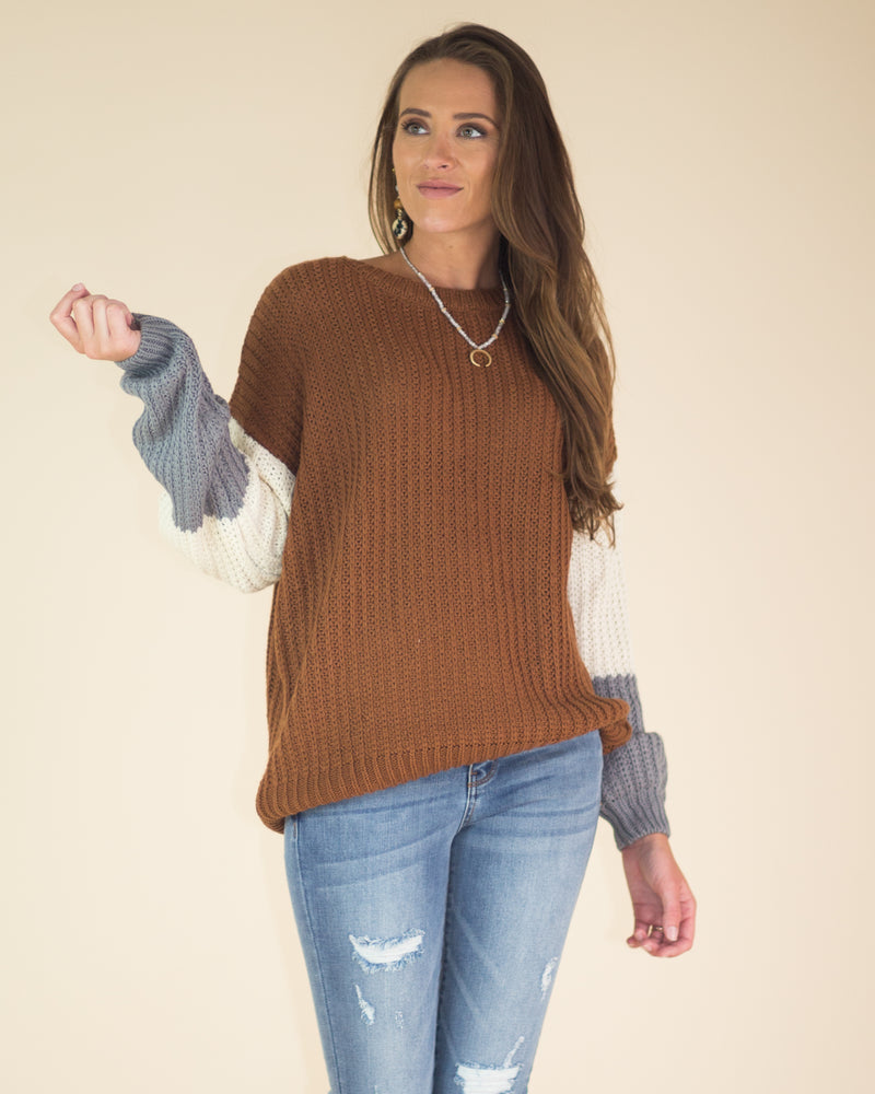 Color Blocked Sleeve Sweater