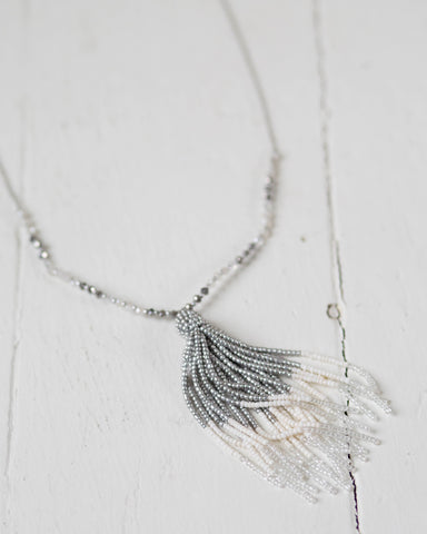 Beaded Silver Ombré Necklace
