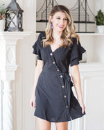 Leigh Ruffle Sleeve Wrap Dress