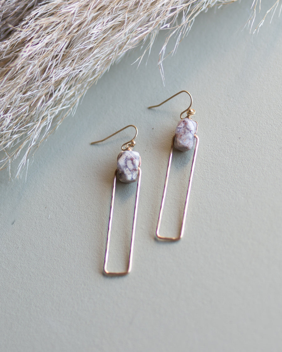 Addison Stone Earrings- Gray/Gold