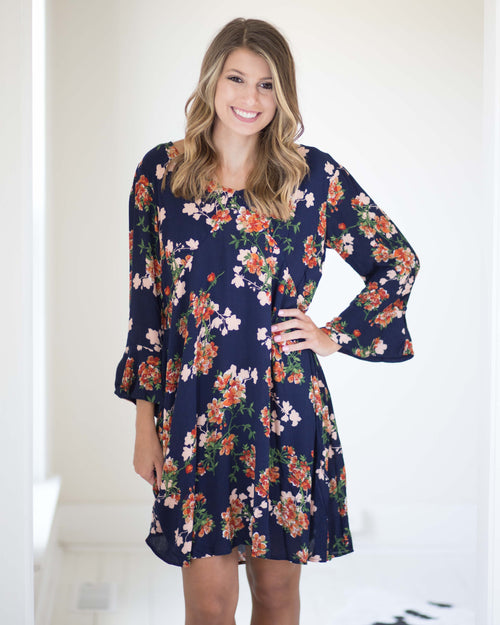 Audrey Floral Bell Cuff Dress | Rose & Remington