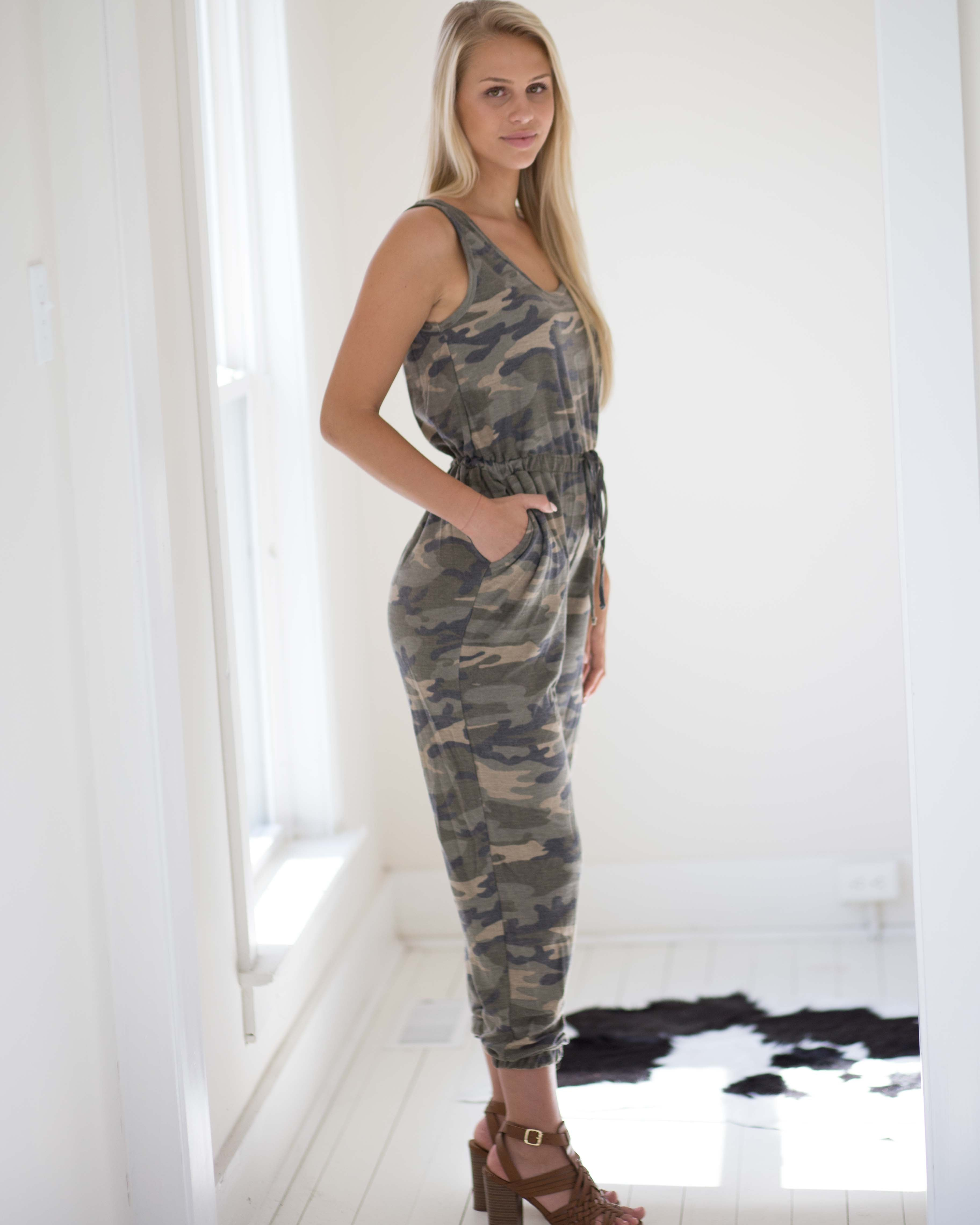 Camo Pocketed Jumpsuit | Rose & Remington