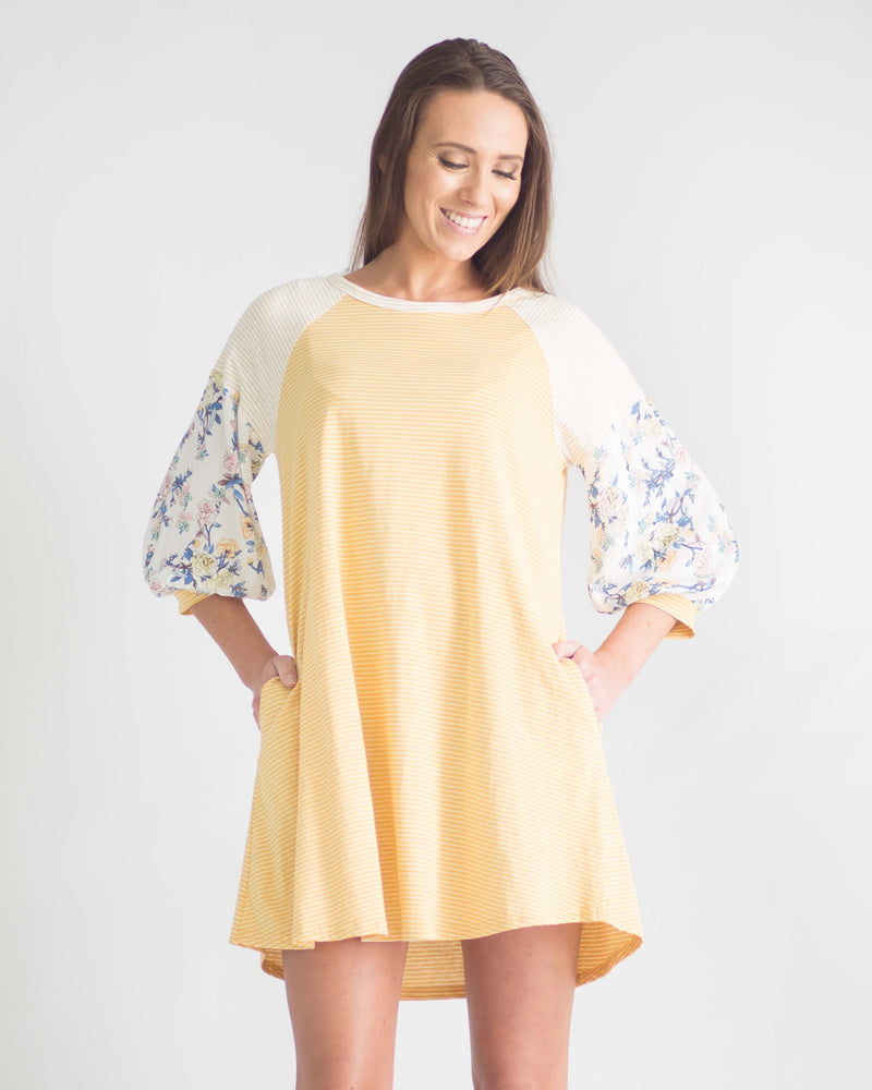 Finley Pocketed Floral Sleeve Dress