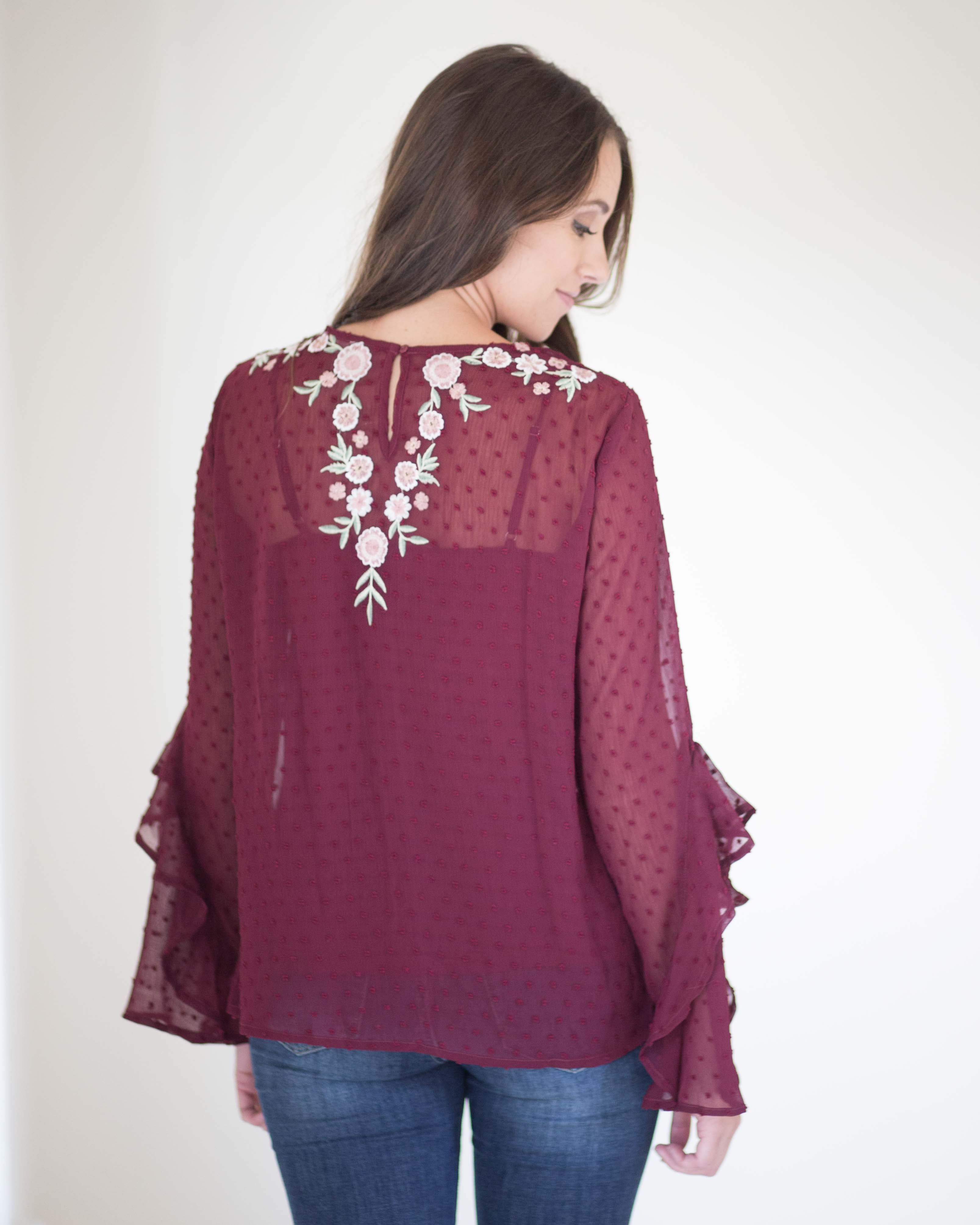 Mira Embroidered Ruffle Sleeve Top