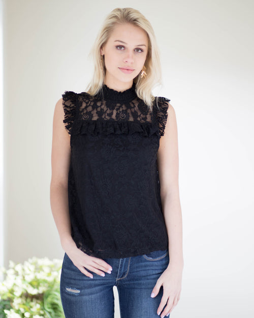 Noir Lace Detail Top | Rose & Remington