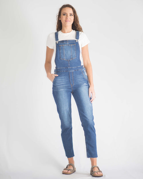 Distressed Side Button Overalls