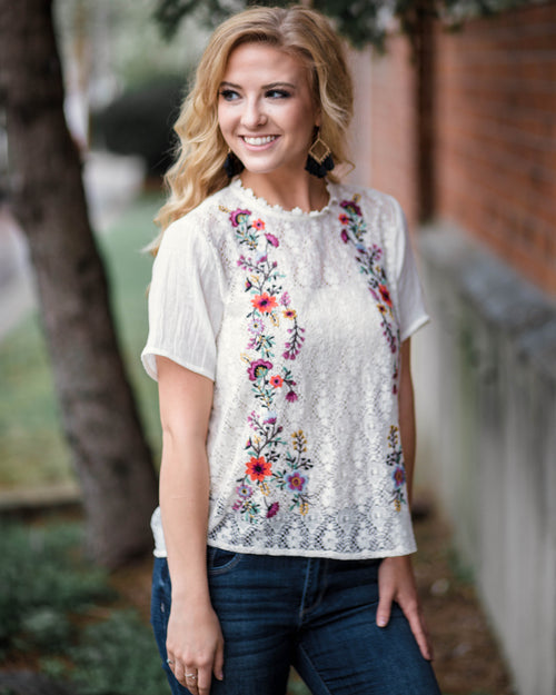 Camellia Embroidered Top | Rose & Remington