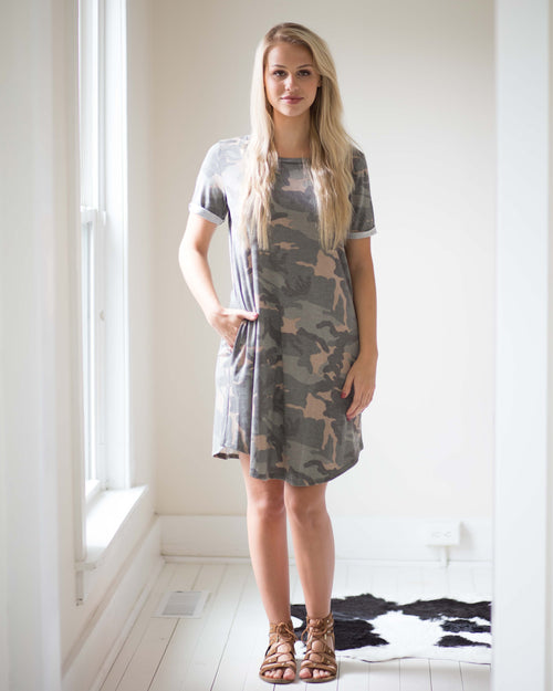 Essential Pocketed Camo Dress | Rose & Remington